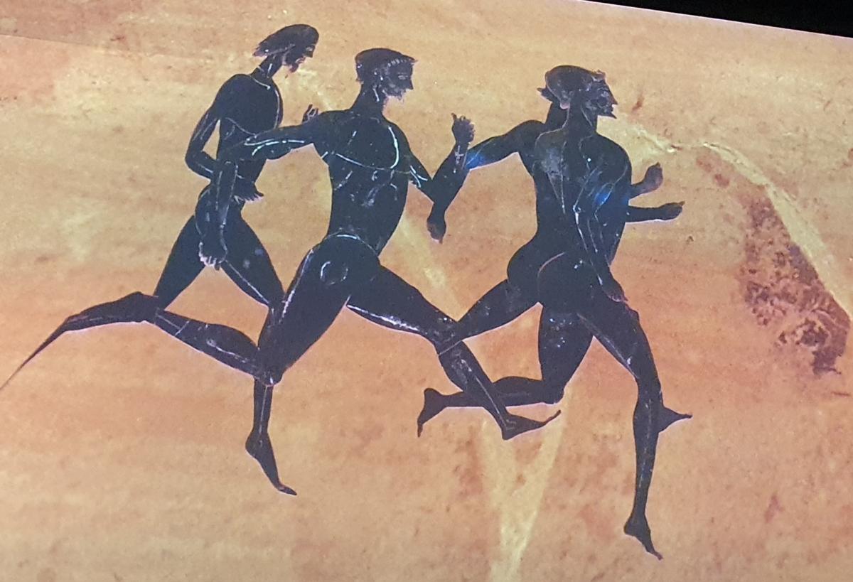 Skisse av naken idrettsmenn som konkurrerte i antikken.