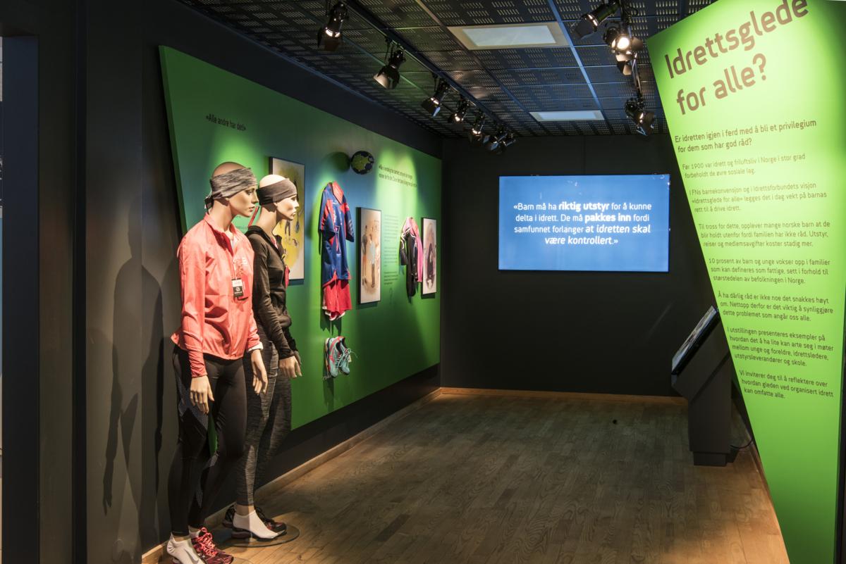 """Fra utstillingen """"Idrettsglede for alle"""" i Norges Olympiske Museum."""