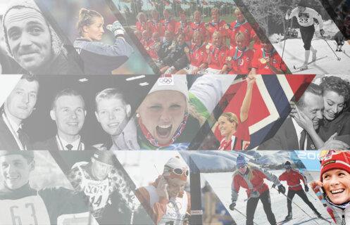 Collage med historiske bilder av idrettsutøvere.