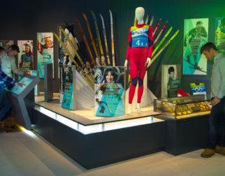 Fra utstillingen om norske skihelter i OL-museet på Lillehammer