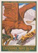 Offisiell plakat fra OL i Chamonix 1924.