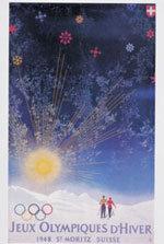 Offisiell plakat fra OL i St. Moritz 1948.
