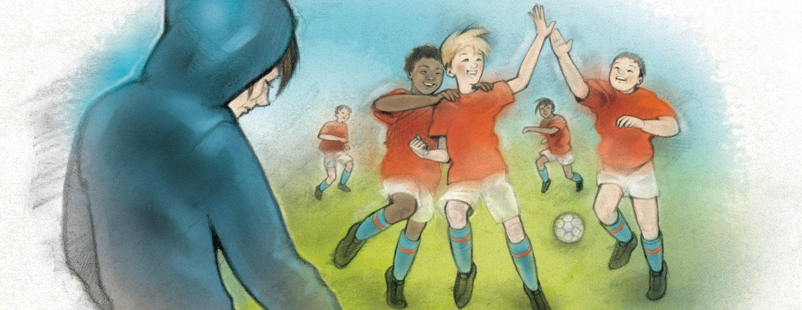 Tegning av et trist barn på siden av fotballbanen der de andre spiller fotball.